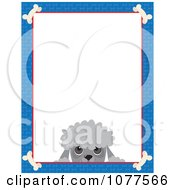 Blue Dog Bone Border And A Poodle Face With White Copy Space