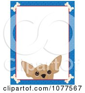 Blue Dog Bone Border And A Chihuahua Face With White Copy Space