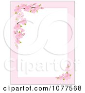 Pink Apple Blossom Border Around White Copyspace