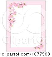Pink Apple Blossom Border Around White Copyspace