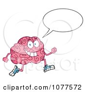 Clipart Brain Character Talking Jogging Royalty Free Vector Illustration