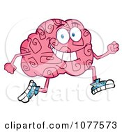Clipart Brain Character Jogging Royalty Free Vector Illustration