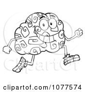 Clipart Outlined Brain Character Jogging Royalty Free Vector Illustration