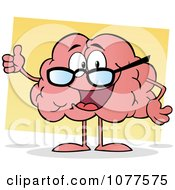 Clipart Pink Brain Wearing Glasses And Holding A Thumb Up Royalty Free Vector Illustration