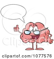 Clipart Talking Brain Character Wearing Glasses And Holding A Thumb Up Royalty Free Vector Illustration