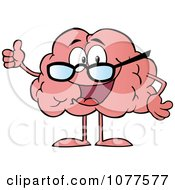 Clipart Brain Character Wearing Glasses And Holding A Thumb Up Royalty Free Vector Illustration