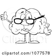 Clipart Outlined Brain Character Wearing Glasses And Holding A Thumb Up Royalty Free Vector Illustration