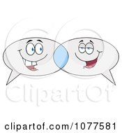 Clipart Speech Balloon Characters Chatting Royalty Free Vector Illustration