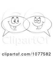 Outlined Speech Balloon Characters Chatting