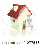 Clipart 3d Silver Man Leaning Against A House Royalty Free Vector Illustration