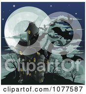 Clipart Haunted Halloween House With Vampire Bats And A Full Moon Royalty Free Vector Illustration