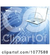 Clipart 3d Laptop Streaming Music On Blue Royalty Free Vector Illustration