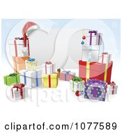 Clipart 3d Christmas Sign With Gift Boxes Over Blue Snowflakes Royalty Free Vector Illustration
