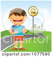 Clipart Happy School Boy Waiting At A Roadside Bus Stop Royalty Free Vector Illustration