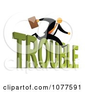Clipart Orange Faceless Businessman Leaping Over Trouble Royalty Free Vector Illustration
