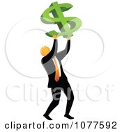 Clipart Orange Faceless Businessman Holding Up A Dollar Symbol Royalty Free Vector Illustration
