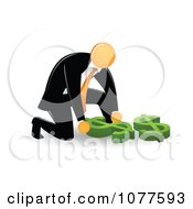 Clipart Orange Faceless Businessman Picking Up A Dollar Symbol Royalty Free Vector Illustration