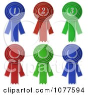 Clipart 3d Blue Red And Green Rosette Award Ribbons Royalty Free CGI Illustration