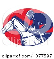 Clipart Blue White And Red Racing Jockey Logo Royalty Free Vector Illustration