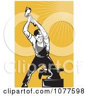 Clipart Retro Hammering Blacksmith And Anvil Royalty Free Vector Illustration