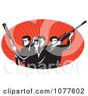 Clipart Black And White Photographer And Hunters Over Red Logo Royalty Free Vector Illustration