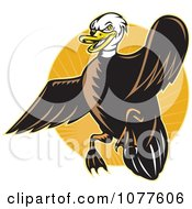 Clipart Flying Mallard Duck And Orange Rays Logo Royalty Free Vector Illustration by patrimonio
