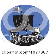 Clipart Galleon Ship And Blue Oval Logo Royalty Free Vector Illustration