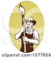Clipart Retro Painter Artist On Rays Logo Royalty Free Vector Illustration by patrimonio