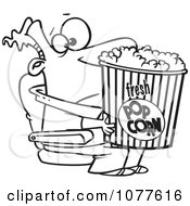 Clipart Outlined Movie Man Holding A Big Bucket Of Popcorn Royalty Free Vector Illustration