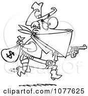 Outlined Black Bart Outlaw Stealing Money