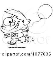 Clipart Outlined Birthday Boy Running With A Party Balloon Royalty Free Vector Illustration