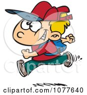 Clipart Boy Running On His First Day Of School Royalty Free Vector Illustration