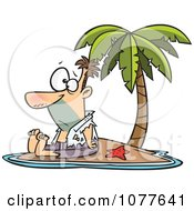Clipart Shipwrecked Man On A Tropical Island Royalty Free Vector Illustration by toonaday