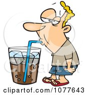 Clipart Man Drinking From A Giant Soda Cup Royalty Free Vector Illustration by toonaday