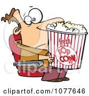 Clipart Movie Man Holding A Big Bucket Of Popcorn Royalty Free Vector Illustration