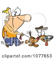 Clipart Man Walking His Dog On A Leash Royalty Free Vector Illustration