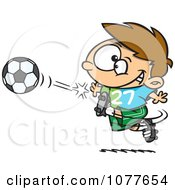 Clipart Boy Kicking A Soccer Ball Royalty Free Vector Illustration