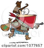 Clipart Black Bart Outlaw Stealing Money Royalty Free Vector Illustration