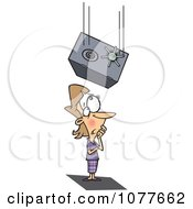 Clipart Safe Falling On An Unlucky Businesswoman Royalty Free Vector Illustration