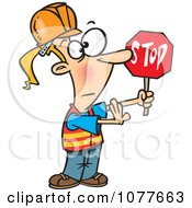 Clipart Traffic Girl Construction Worker Stopping Royalty Free Vector Illustration by toonaday