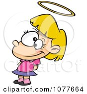 Clipart Innocent Angelic Girl With A Halo Royalty Free Vector Illustration