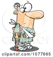 Clipart Accident Prone Man With Bandages And A Crutch Royalty Free Vector Illustration