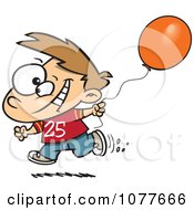 Clipart Birthday Boy Running With A Party Balloon Royalty Free Vector Illustration by Ron Leishman