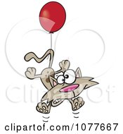 Clipart Birthday Cat Floating With A Party Balloon Royalty Free Vector Illustration