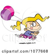 Clipart Birthday Girl Running With Party Balloons Royalty Free Vector Illustration by Ron Leishman