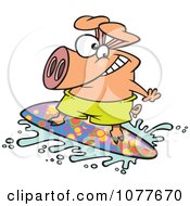 Clipart Surfer Pig Riding A Wave Royalty Free Vector Illustration by Ron Leishman