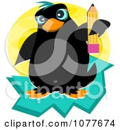 Clipart Penguin Holding A Pencil Royalty Free Vector Illustration by bpearth