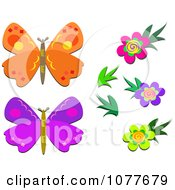 Flowers And Butterflies 1
