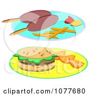 Clipart Corn Dogs And A Hamburger On Plates Royalty Free Vector Illustration by bpearth