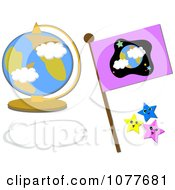 Clipart Desk Globe With A Flag Cloud And Stars Royalty Free Vector Illustration by bpearth